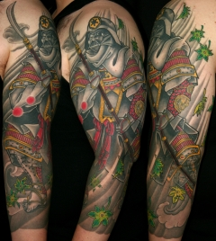 Darth Vader samurai three quarter sleeve tattoo