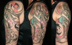 Patterned kimono geisha tattoo
