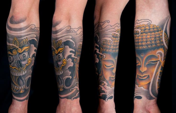 Buddha and Tibetan skull tattoo