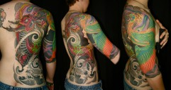 Dragon and phoenix half back and sleeve tattoo