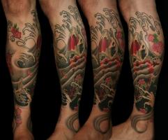Custom Koi leg sleeve tattoo
