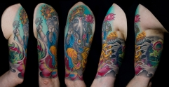Ganesh and hybrid sugar skull tattoo