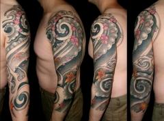 Three quarter oriental wind, maple and cherry blossom tattoo