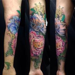 Sleeve of peonies and wattle flowers