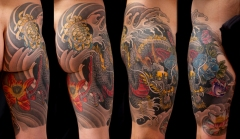 Dragon and lotus thigh piece tattoo