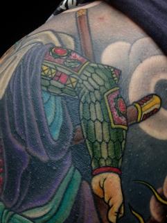 Close up - Benkei Japanese warrior and Kabuto helmut