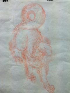 Preliminary sketch of Shishi (foo dog)