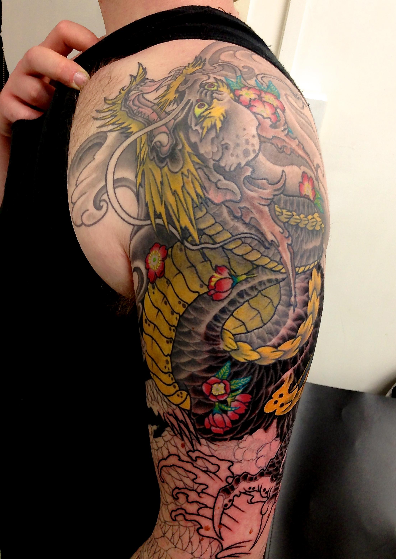 Koi Fish Tattoo Half Sleeve Stencil Clareketon Wip Tattoo Colour Dragon Oriental