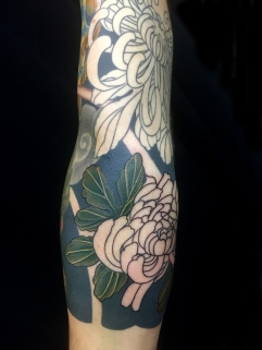 Work in progress - Chrysanthemum sleeve tattoo