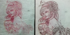 Work in progress - Freehand sketch and stencil of Geisha and chrysanthemum tattoo