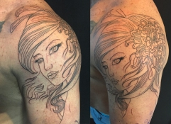 Work in progress - Outline of Geisha and chrysanthemum tattoo
