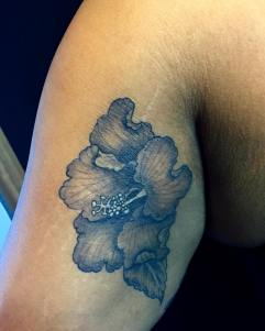 Small Hibiscus flower tattoo