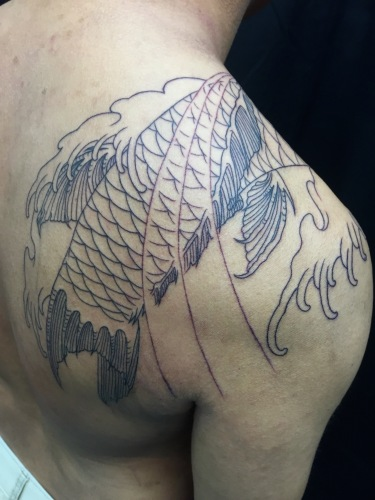 clareketon_tattoo_wip_outline_koifish
