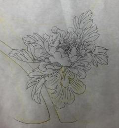 Freehand sketch of Peony tattoo