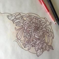 Stencil of a chrysanthemum flower