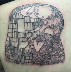 Gustav Klimt's The Kiss tattoo