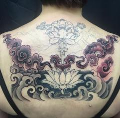 Work in progress - Lotus and waves oriental tattoo