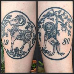 Year of the Goat and Year of the Monkey tattoos