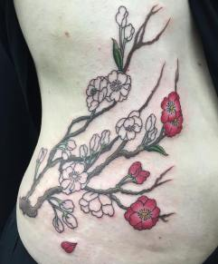 Work in progress - Sakura (cherry bloosoms) piece on the ribs