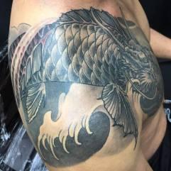 Work in Progress - Koi no taki nobori chest & shoulder tattooo
