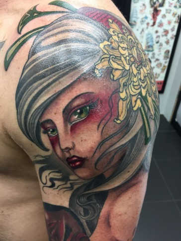 Work in Progress - Geisha with Shikami Mask close up
