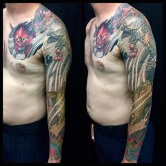 Full Sleeve -Hannya Mask Sukura Koi Lotus