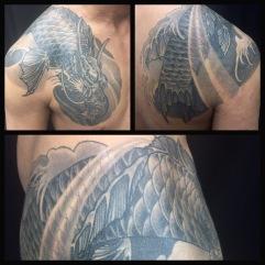Koi no taki_nabori shoulder and chest tattoo