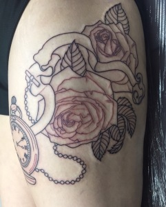 Outline Roses and Pocket Watch Work In Progress